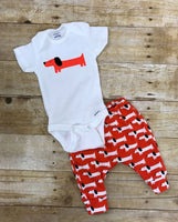 Dachshund pants and bodysuit infant or toddler outfit