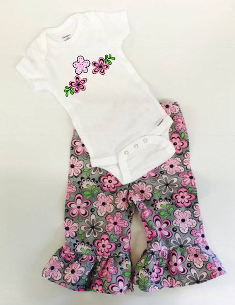 Handmade Toddler Girl funky floral Pants and Shirt Outfit, funky flower outfit, floral little girls outfit