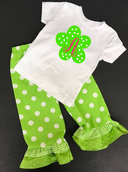 Handmade Personalized Girls monogrammed flower Pants and Shirt Outfit, monogrammed floral outfit