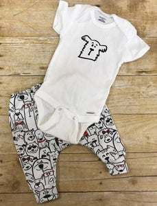 Dog Pants and Bodysuit Infant Jogger Outfit