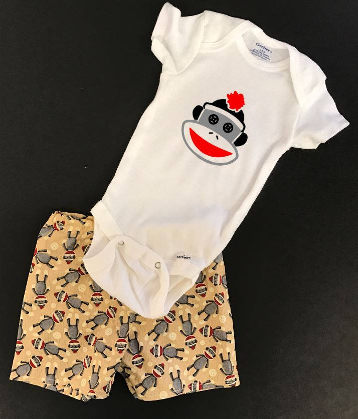 Sock Monkey shorts outfit, baby shorts outfit, baby shower gifts, sock monkey onesie and shorts