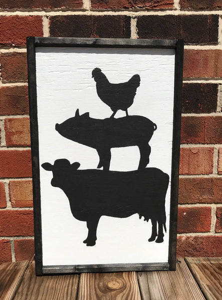 Framed wooden Cow, Pig and Chicken sign