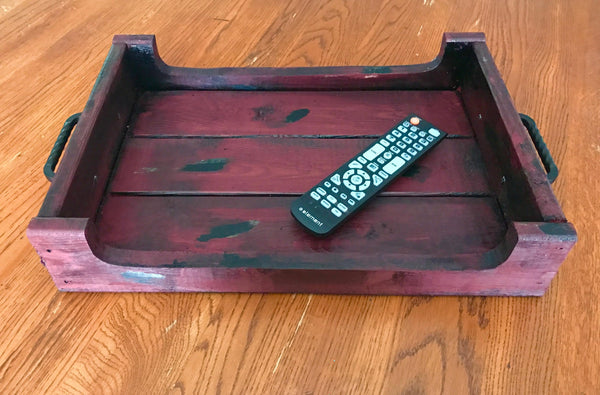 red decorative tray with sides side view