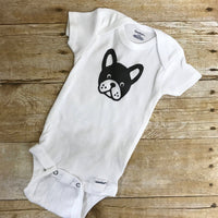 Boston Terrier pants and bodysuit infant or toddler outfit.