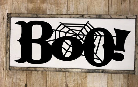 Boo sign, Framed wooden halloween sign, Spiderweb halloween boo art