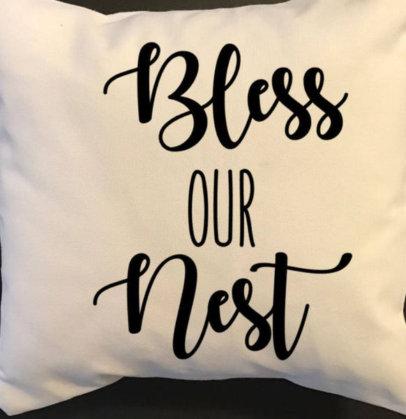Bless our Nest throw pillow, southern decor pillows, southern sayings pillows