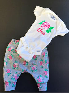 Personalized Infant or Toddler girl floral outfit
