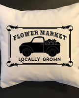 Flower Market Locally Grown throw pillow, farmhouse pillow decor