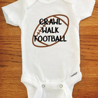 Crawl Walk Football ONESIE ® brand Gerber Onesie Bodysuit - Funny Onesie - Shower gift - baby clothes - newborn onesie