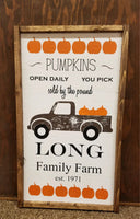 Personalized pumpkin, Christmas tree farm truck art, reversible art, fall decor sign christmas decor sign