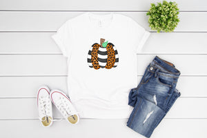 leopard stripe pumpkin t shirt