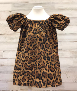 Leopard Print Peasant dress