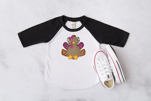 Leopard Turkey Kids Raglan, Multiple Sizes Available