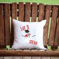 Let It Snow Snowman Throw Pillow