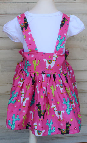 Llama and cactus Suspender skirt