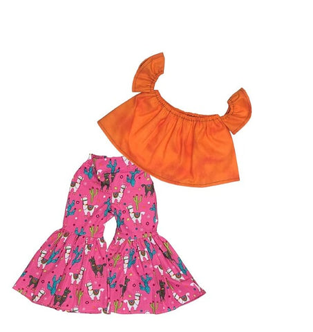 Orange Crop Top And Llama And Cactus Ruffle Bell Bottoms