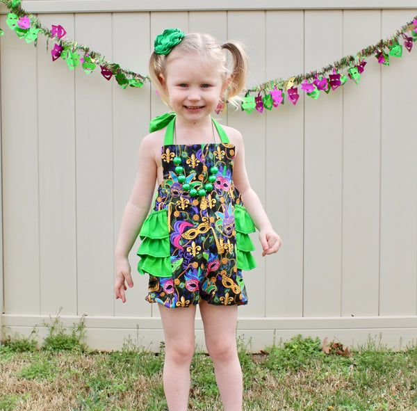Mardi Gras Ruffle Romper READY TO SHIP