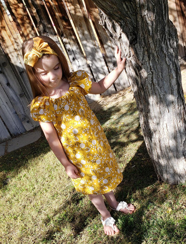 Mustard floral peasant dress
