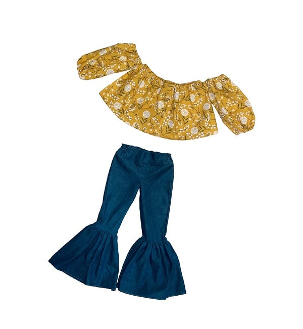 Mustard Floral Crop Top and Denim Bell Bottoms