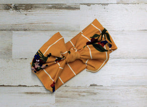 Mustard stripes and floral headwrap bow