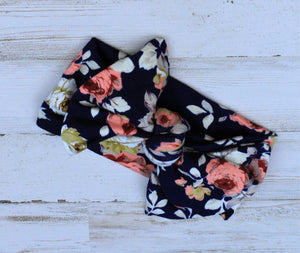 Navy Floral headwrap bow