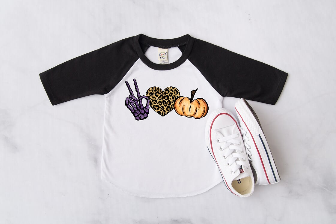 Peace, Love, and Pumpkins Raglan, Multiple Sizes Available