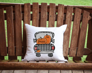 Personalized Buffalo Plaid Pumpkin Truck Throw Pillow