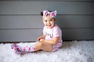 Rose High Waisted Bummie Set, Bow and Knee highs