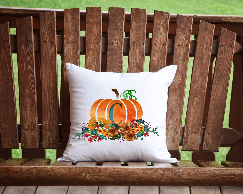 monogram pumpkin Pillow