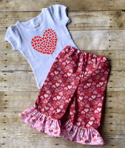Valentine's Day ruffle pants outfit