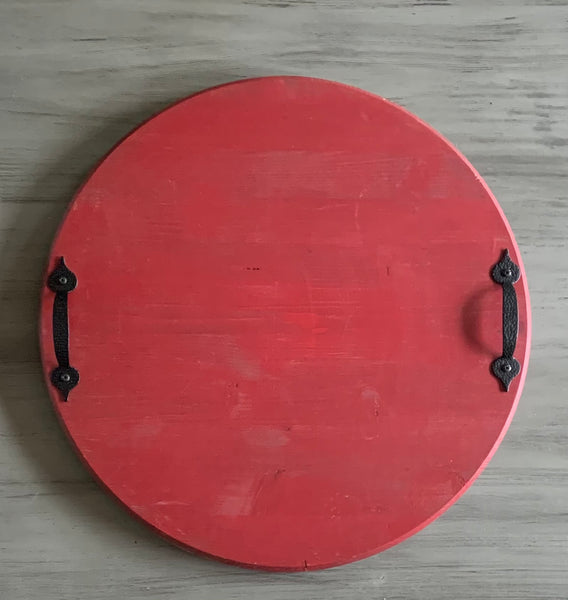 "18"" Red Round Tray"