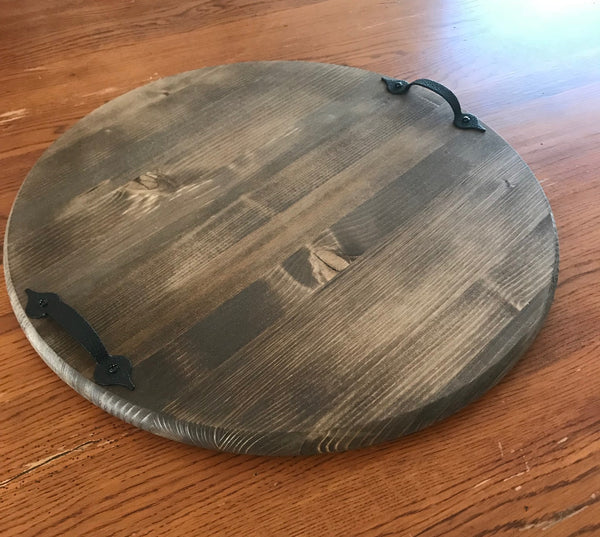 round wooden walnut tray with handles
