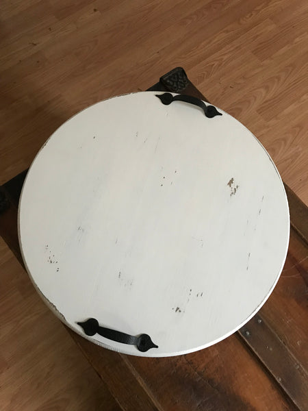 "18"" Round Distressed Whiite Wooden Serving Tray"