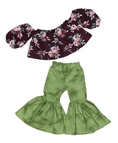Burgundy Floral Crop Top and Sage Green Bell Bottoms