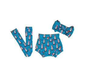 Santa Gnomes Bummie Set, Bow and Knee highs