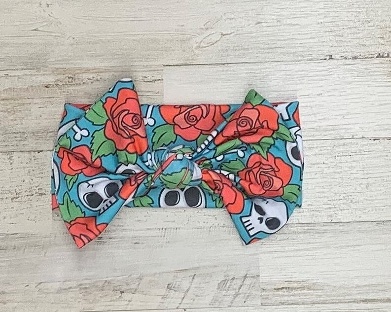 Skulls And Roses Headwrap Bow