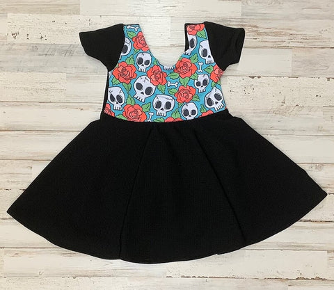 Skulls And Roses Twirl Dress