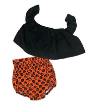 Black Crop Top and Jack O Lantern Bloomers