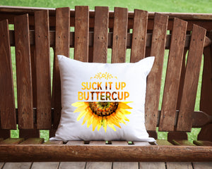 Suck it Up Buttercup Sunflower throw pillow