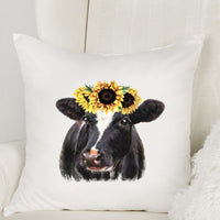 Sunflower Cow Throw Pillow