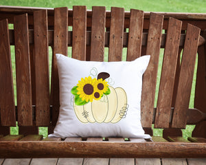 Sunflower Pumpkin Throw Pillow