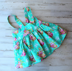 Teal Flower Suspender skirt