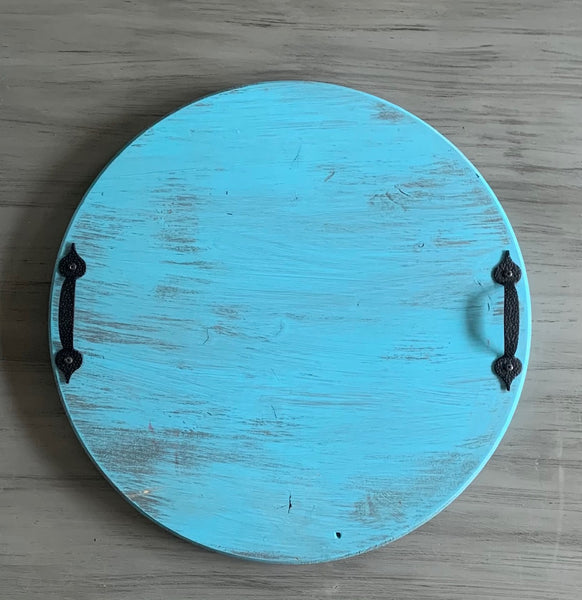 "24"" Turquoise Round Tray"