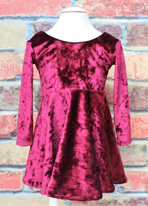 Burgundy Velvety twirl dress