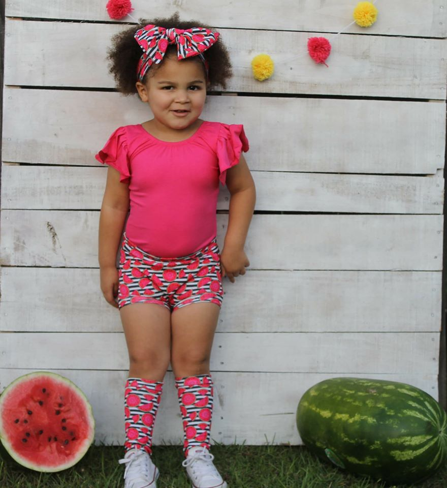 Watermelon High Waisted Bummie Set, Bow and Knee highs