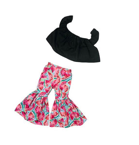 Black Crop Top and Watermelon Ruffle Bell Bottoms