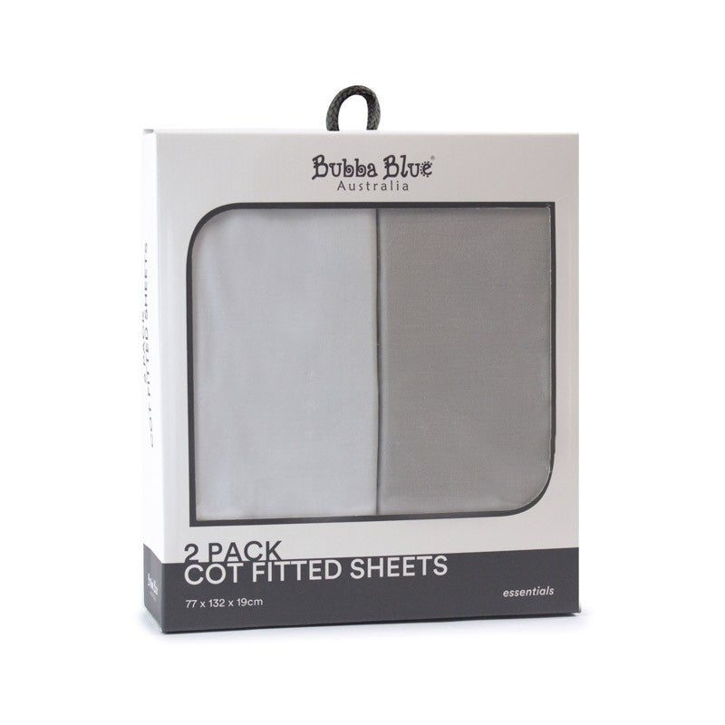 2 Pack Cot Fitted Sheets GREY & WHITE duo