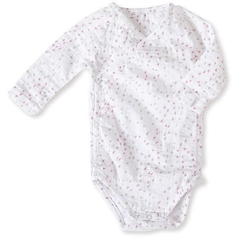 Long sleeve kimono bodysuit (lovely mini hearts)