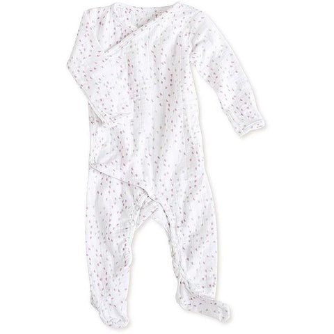 Long sleeve kimono one-piece sleepsuit (lovely mini hearts)