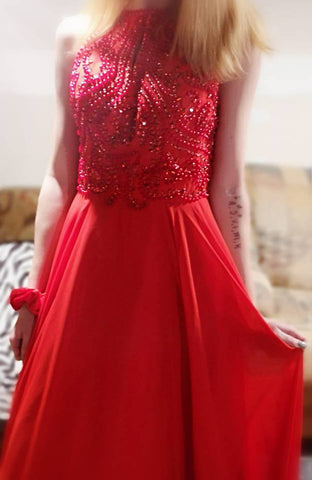 Sexy Long Prom Dresses Halter Floor-length Sequins Prom Dress/Evening Dress JKL124